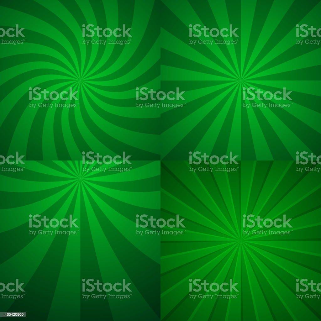 Set of four green rising backgrounds. vector art illustration