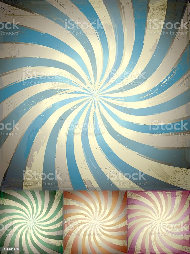 Set of four Grunge radial backgrounds with twisted rays vector art illustration