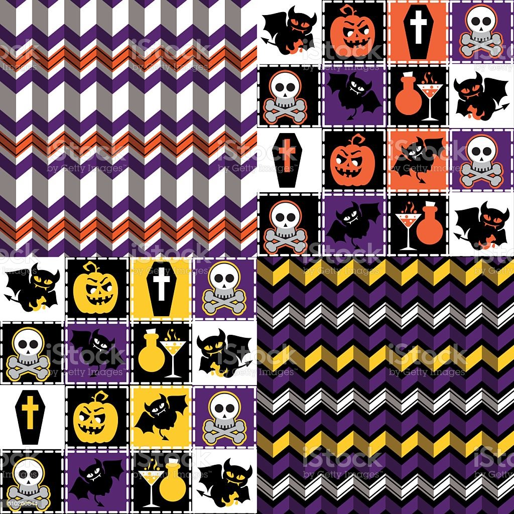 Set of four Halloween seamless patterns vector art illustration