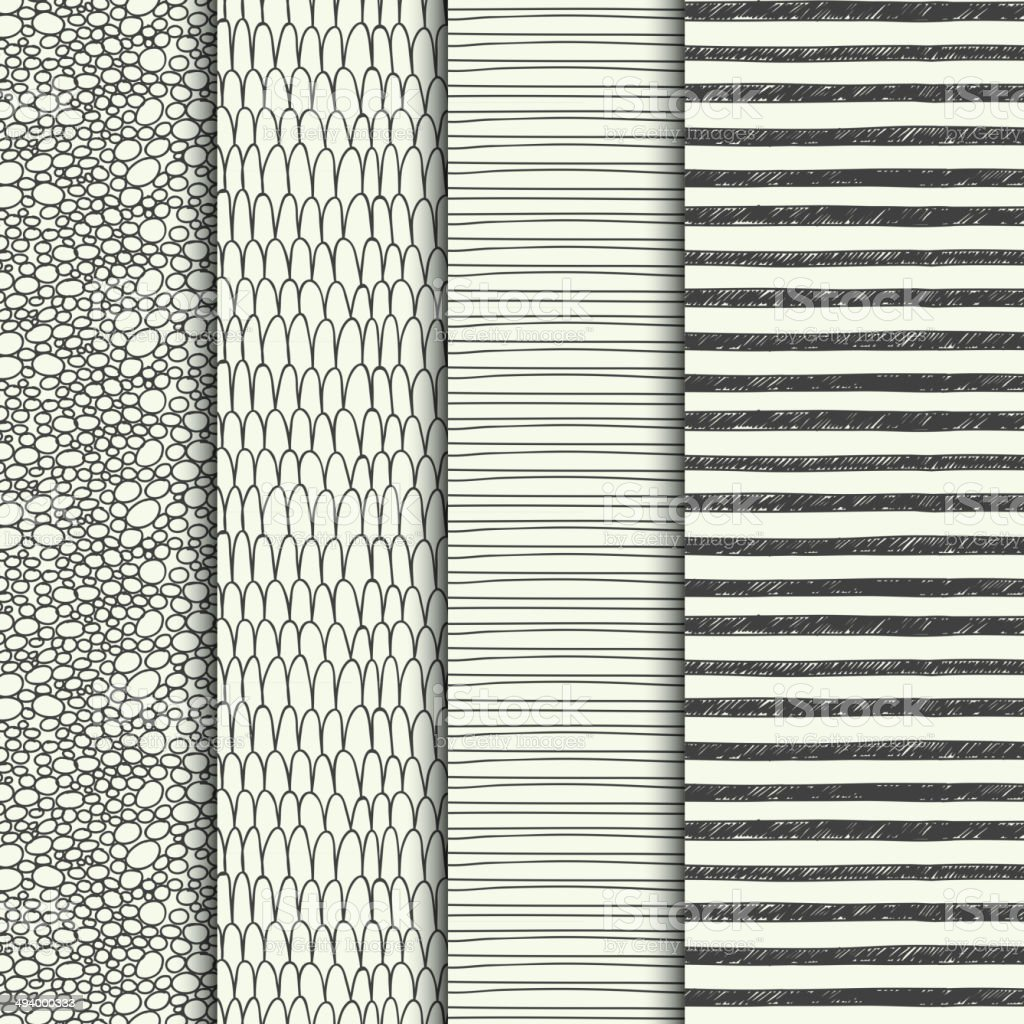 Set of four handdrawn textures vector art illustration