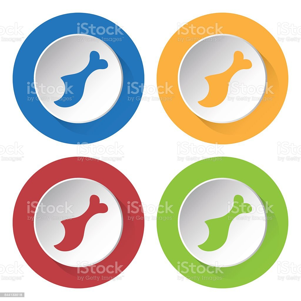 set of four icons - gnawed chicken leg vector art illustration