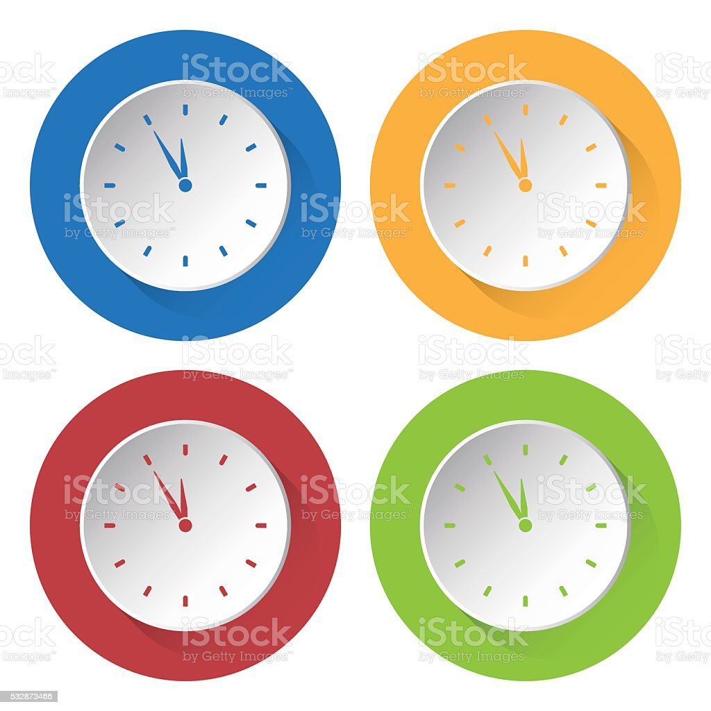 set of four icons - last minute clock vector art illustration