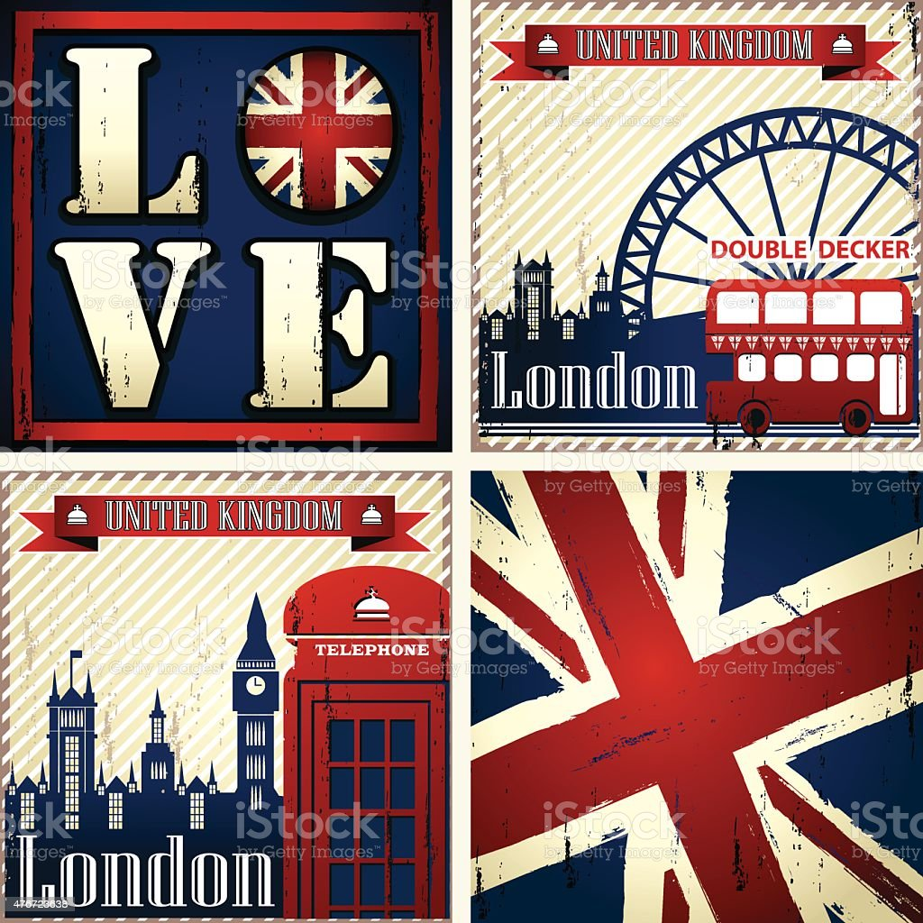 UK & LONDON Set of four illustrations vector art illustration