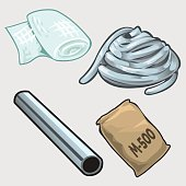 Set of four items for the construction