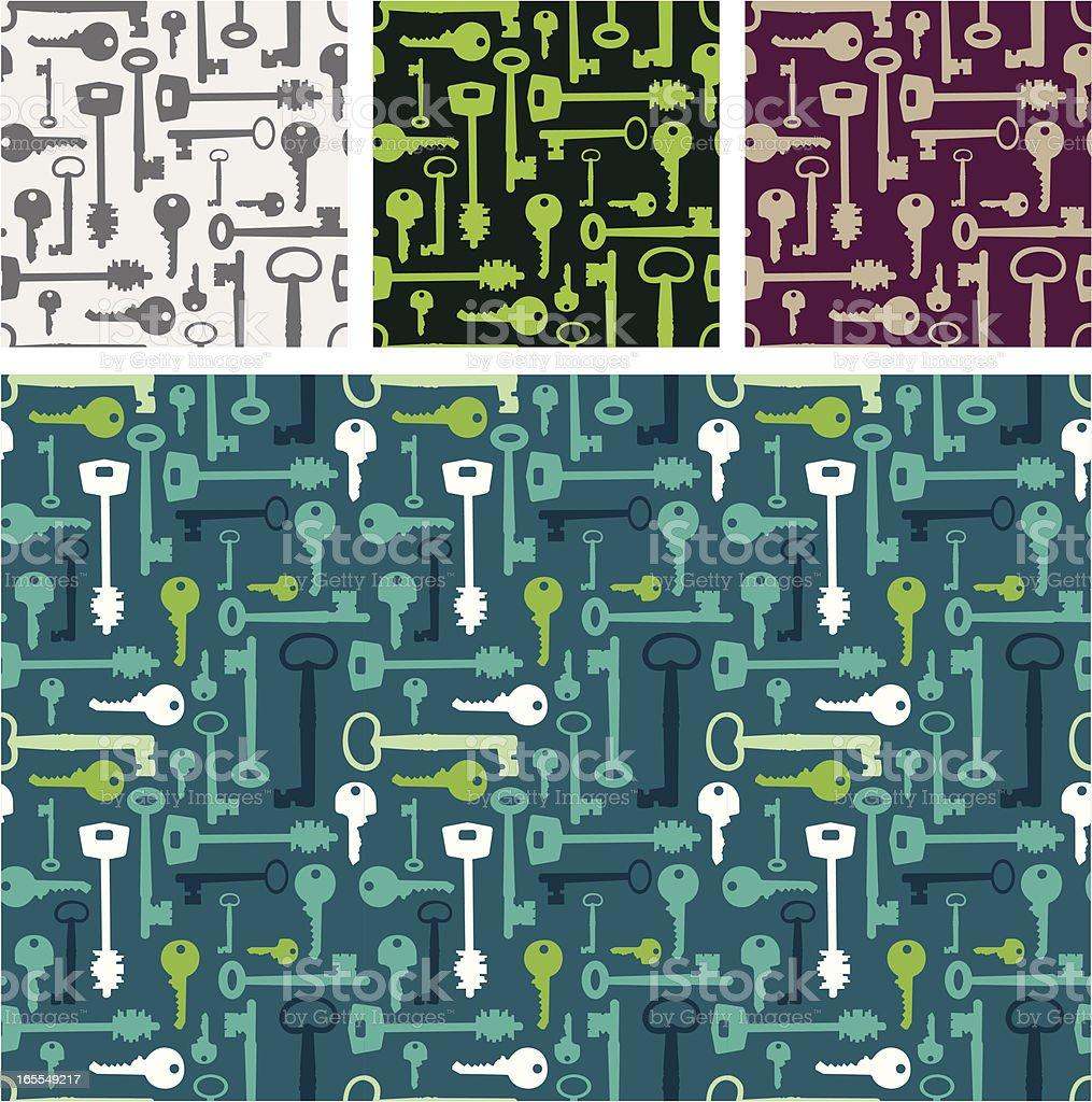 Set of four Key pattern royalty-free stock vector art