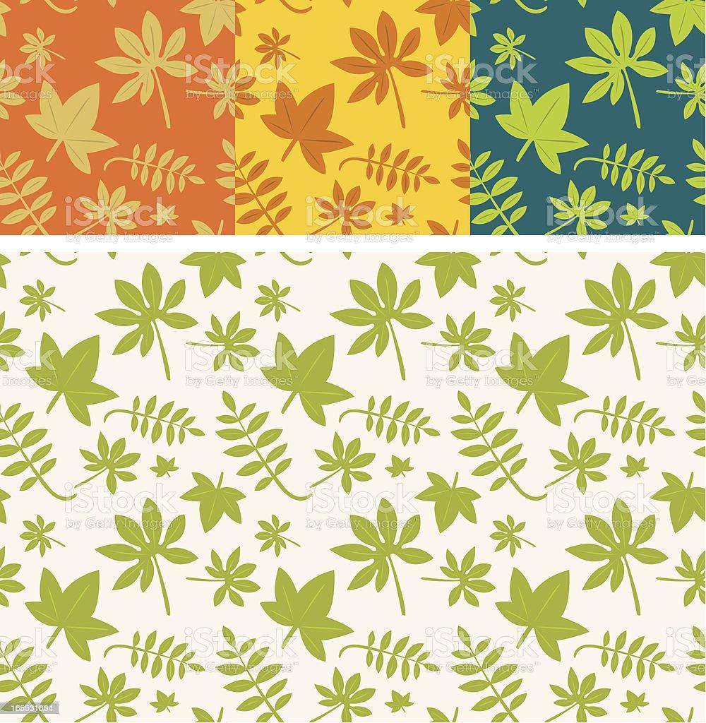 Set of four leaves pattern vector art illustration