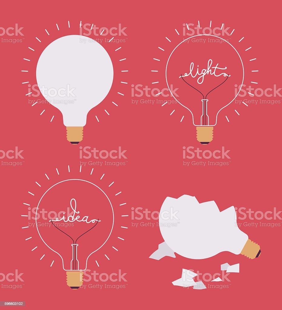Set of four light bulbs against crimson background vector art illustration