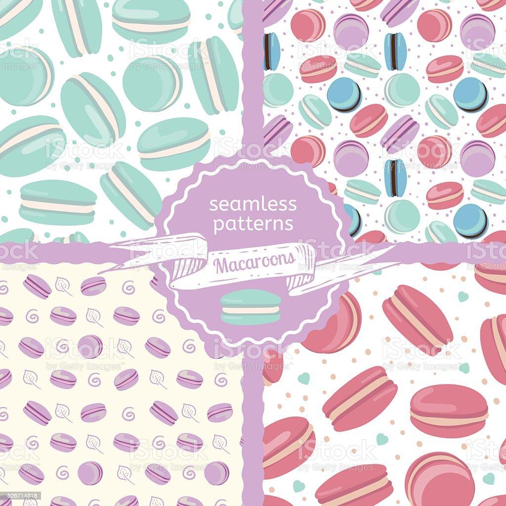 Set of four macaroon seamless patterns vector art illustration