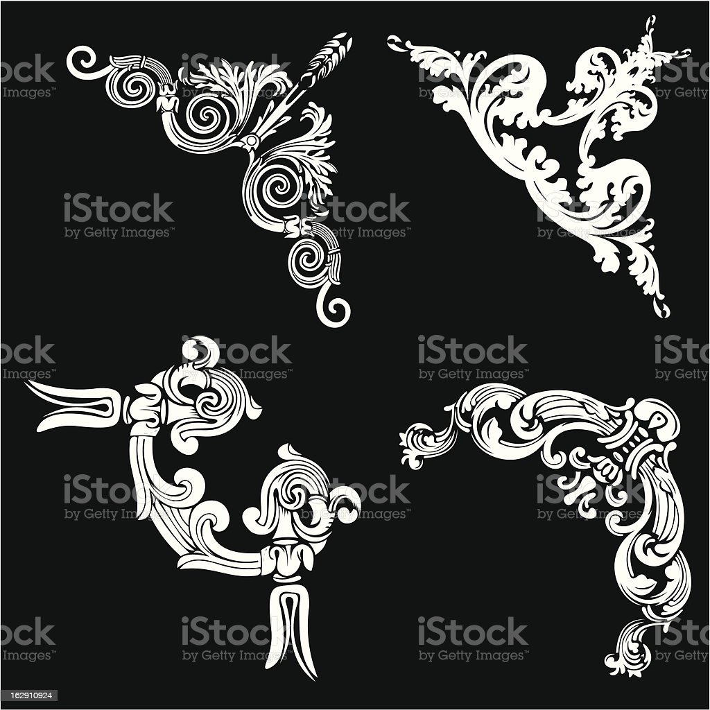 Set Of Four One Color Corners. royalty-free stock vector art