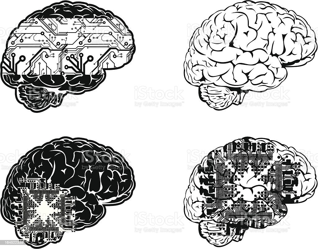 Set Of Four One Color Electronic Brain Side View. royalty-free stock vector art