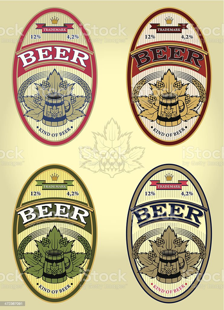 set of four oval labels for beer royalty-free stock vector art