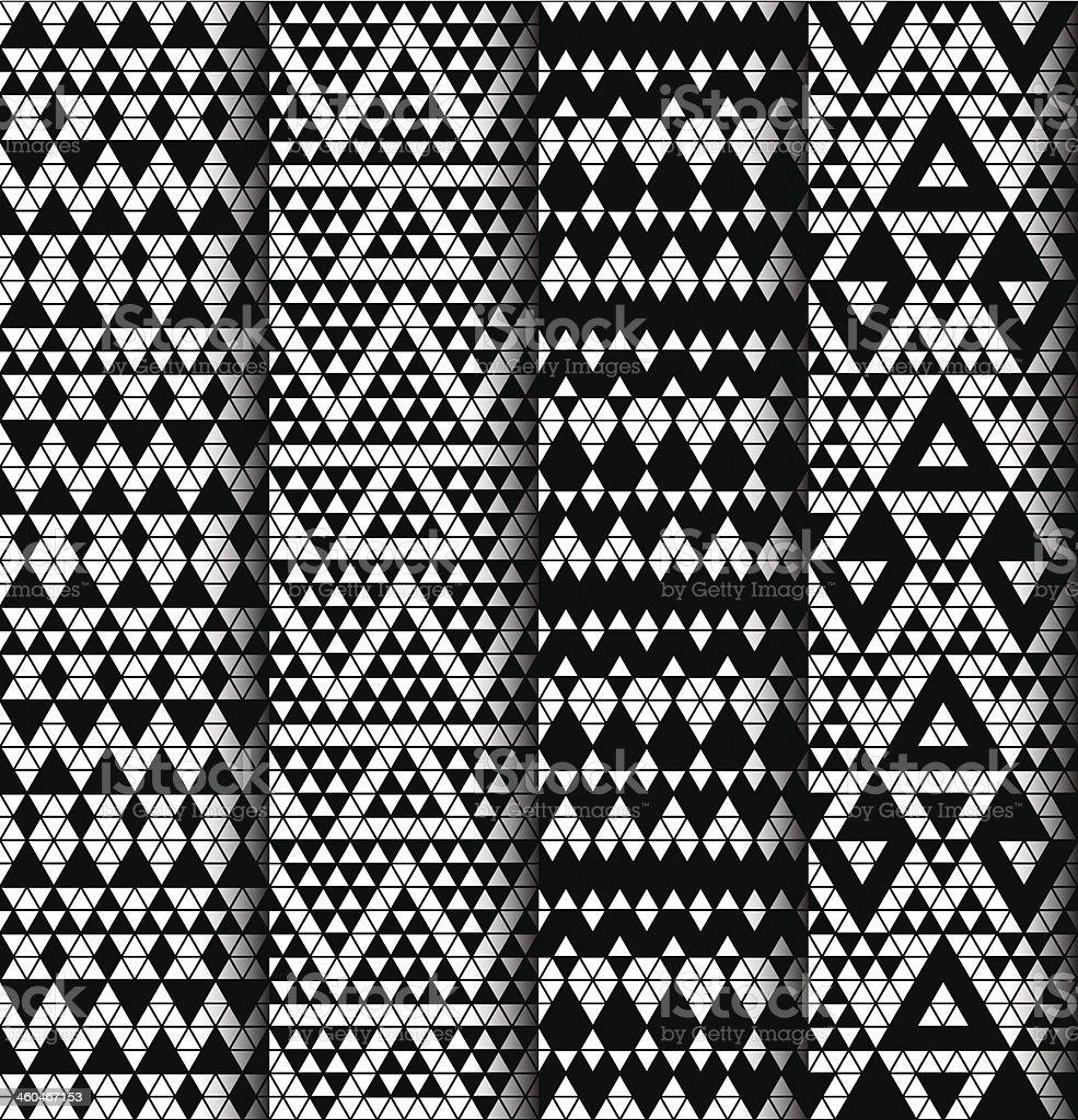 Set of four patterns. vector art illustration