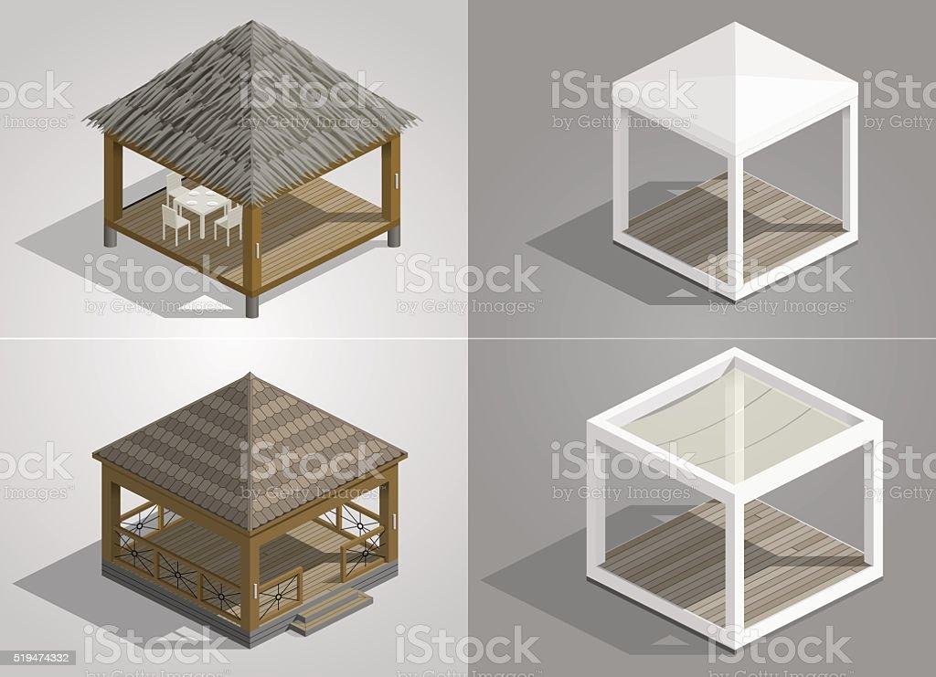 Set of four pavilions vector art illustration