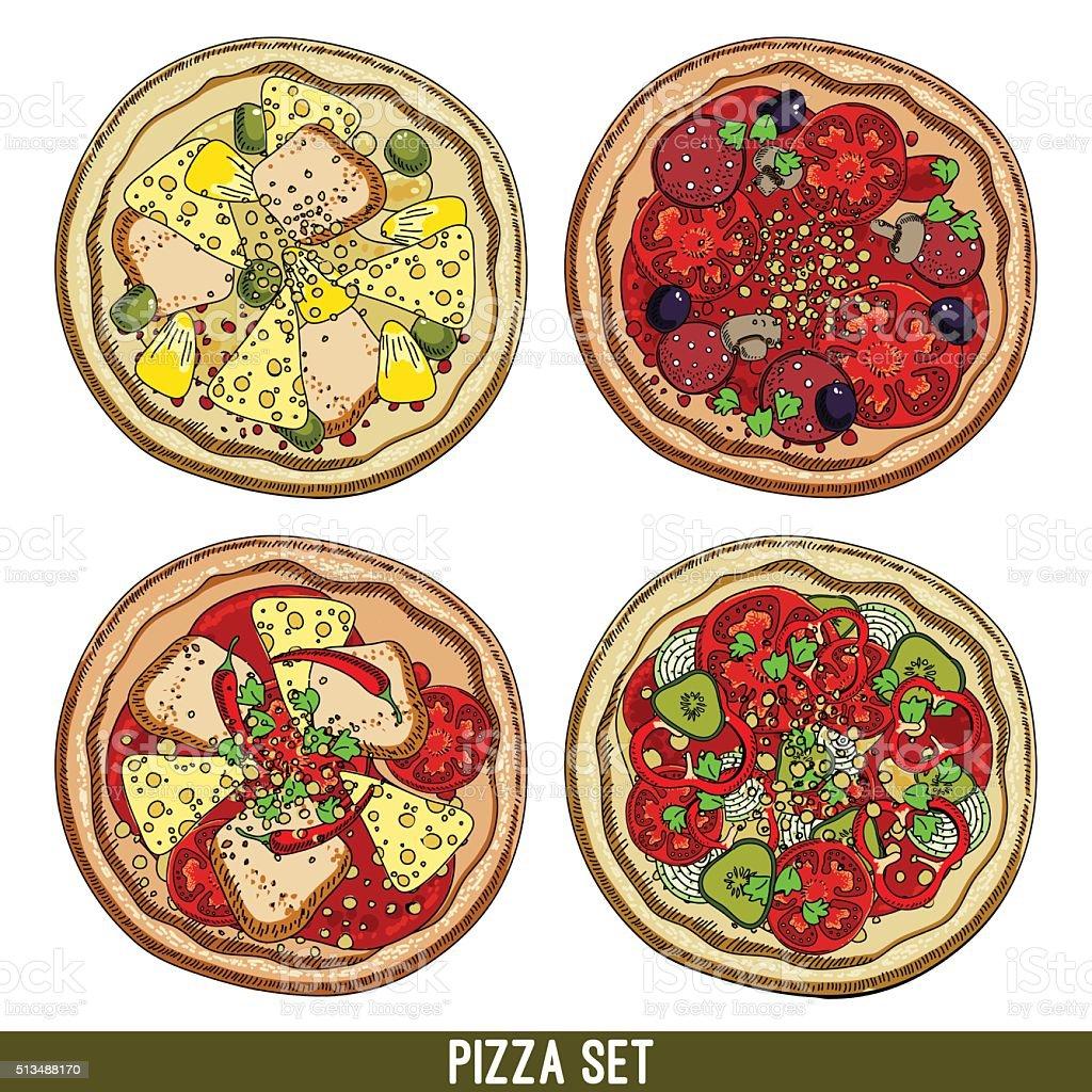 set of four pizzas vector art illustration