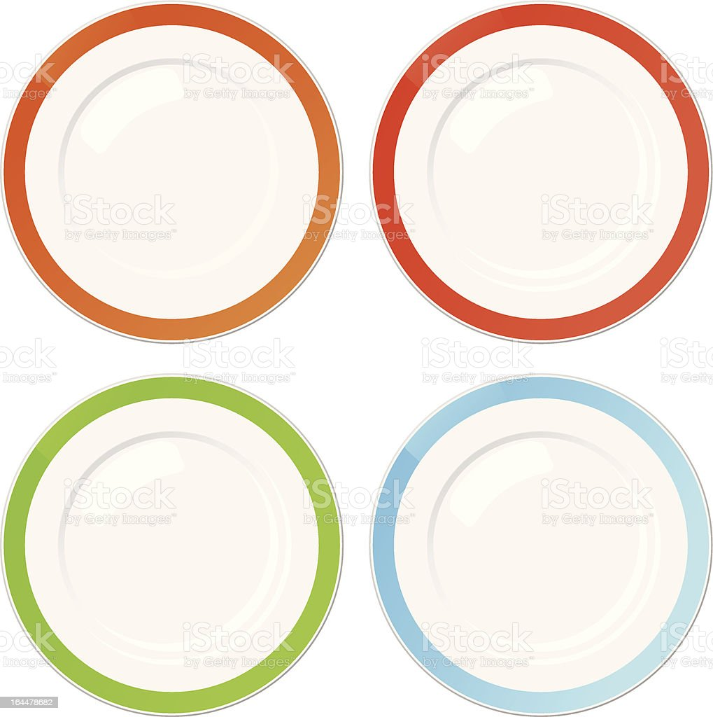 Set of four plates with coloured borders vector art illustration
