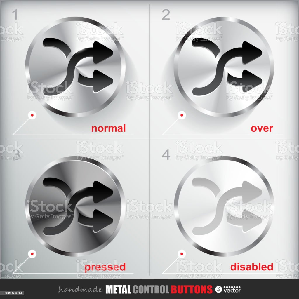 Set of four positions of Circle Metal Shuffle Button. royalty-free stock vector art