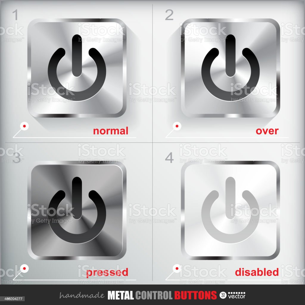 Set of four positions of Circle Metal Start Power Button. royalty-free stock vector art