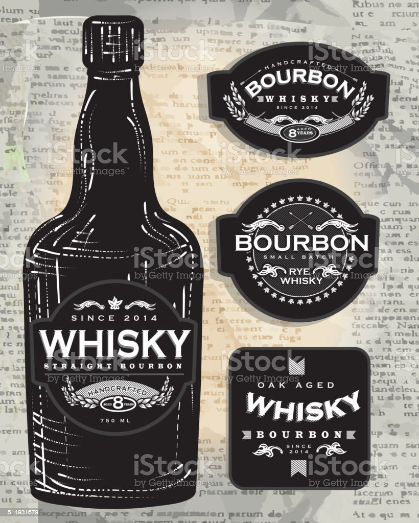 Set of four retro Bourbon Whisky labels and bottle vector art illustration