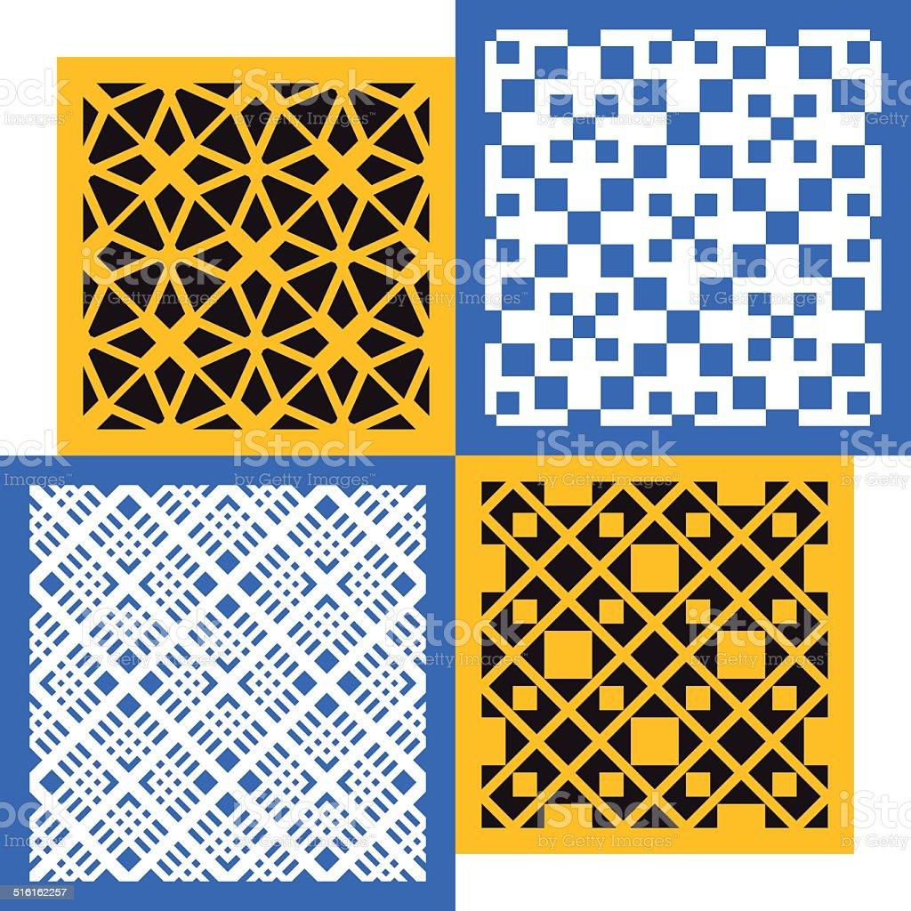 Set of four seamless patterns. Vintage geometric ornaments. vector art illustration