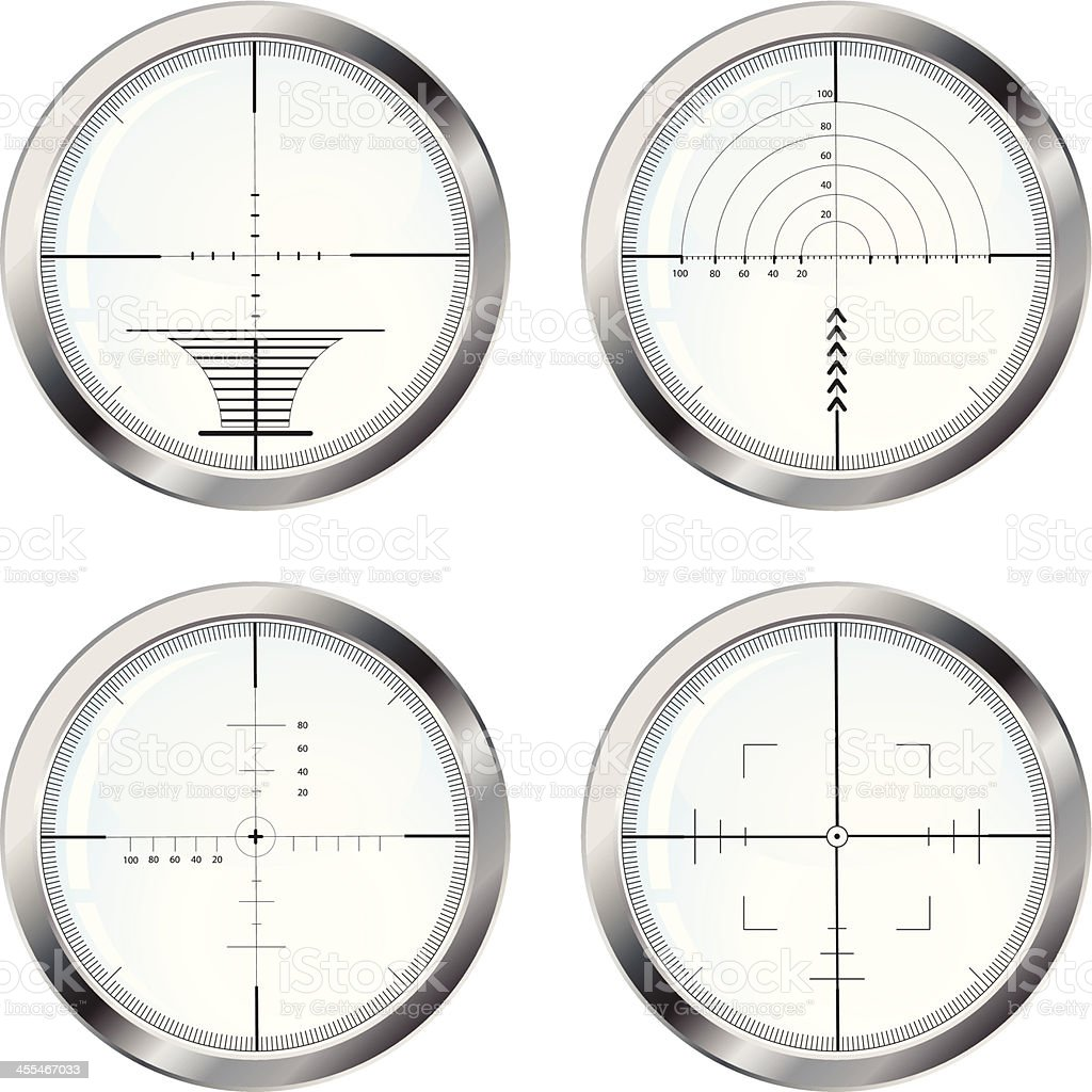 Set of four sniper crosshair royalty-free stock vector art