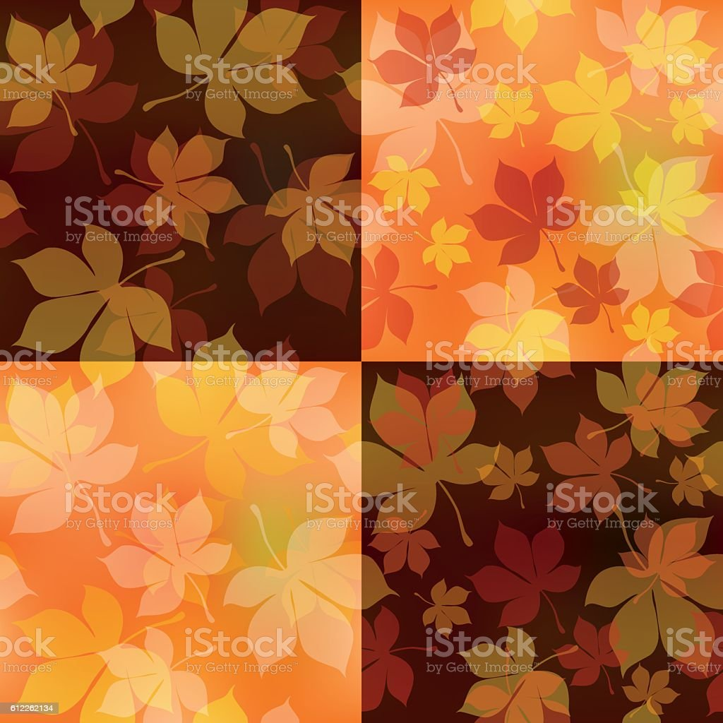 Set of four square Autumn seamless patterns vector art illustration