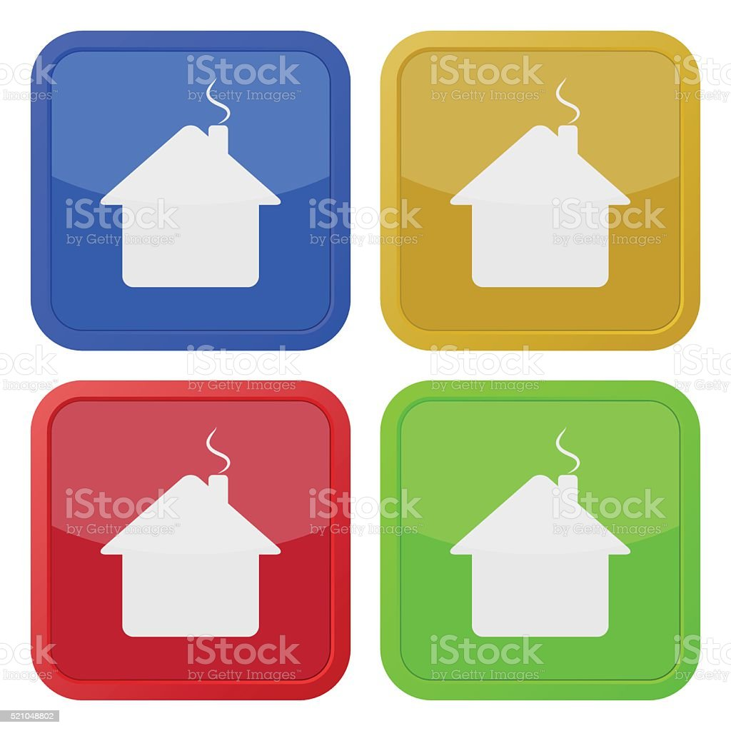 set of four square icons - house with chimney vector art illustration