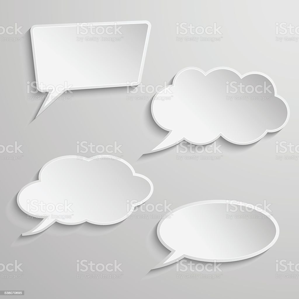 Set of four thought bubbles vector art illustration