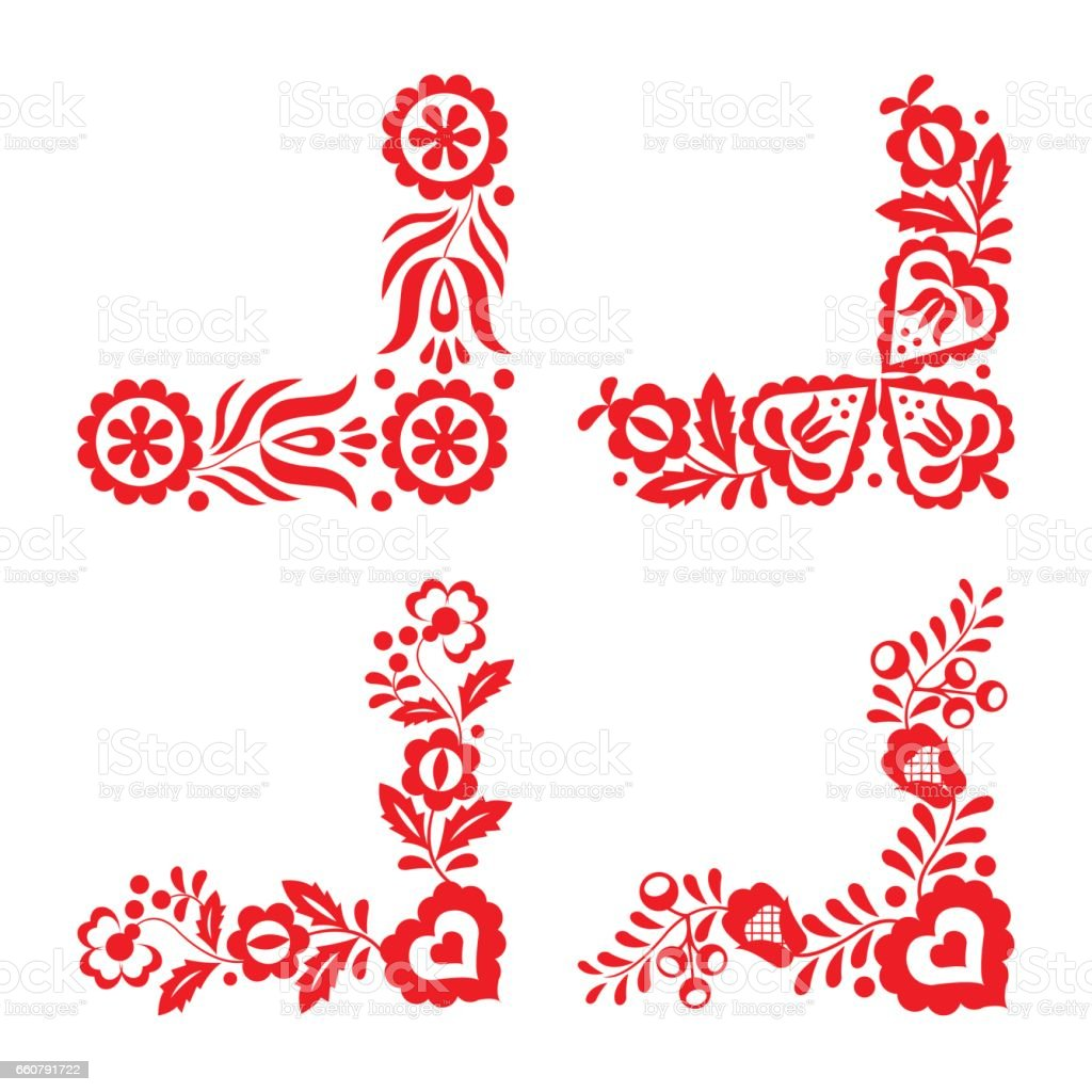Set of four traditional folk ornaments, red embroidery isolated on a white background vector art illustration