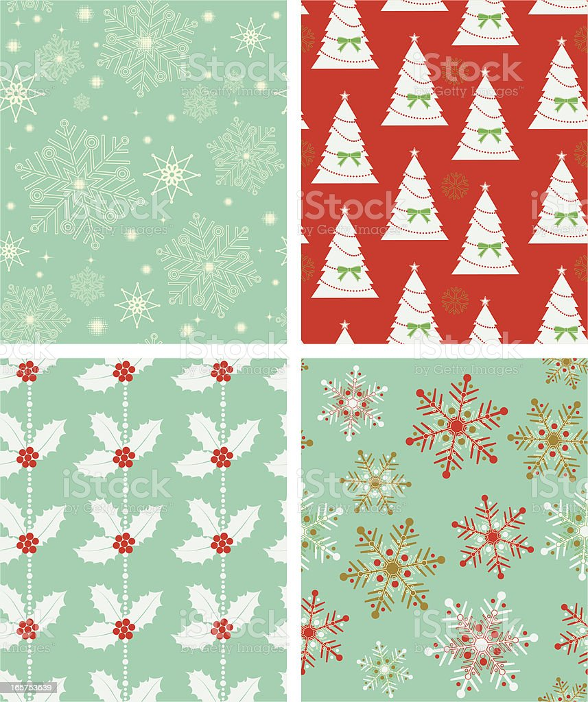 Set of four various Christmas-themed backgrounds royalty-free stock vector art