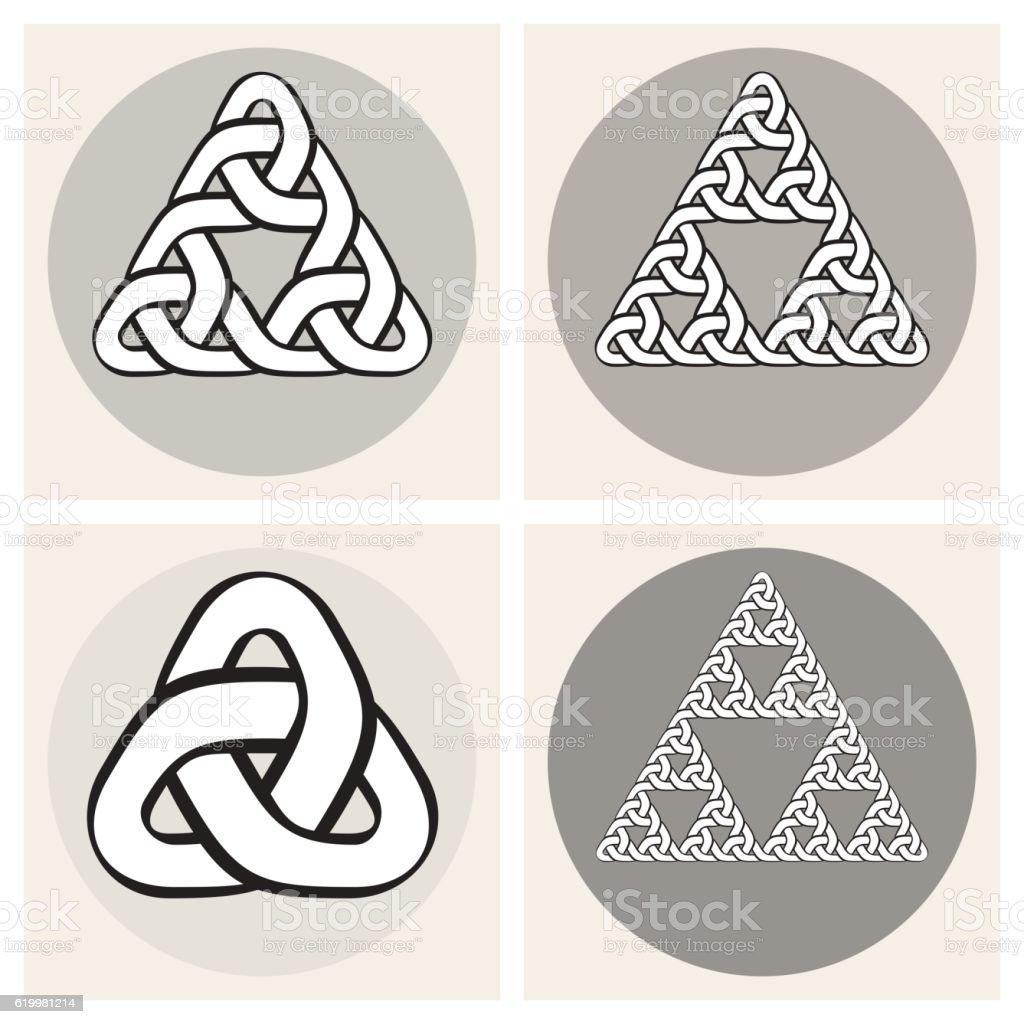 Set Of Four Vector Celtic Interweaving Line Triangle Knots Design vector art illustration