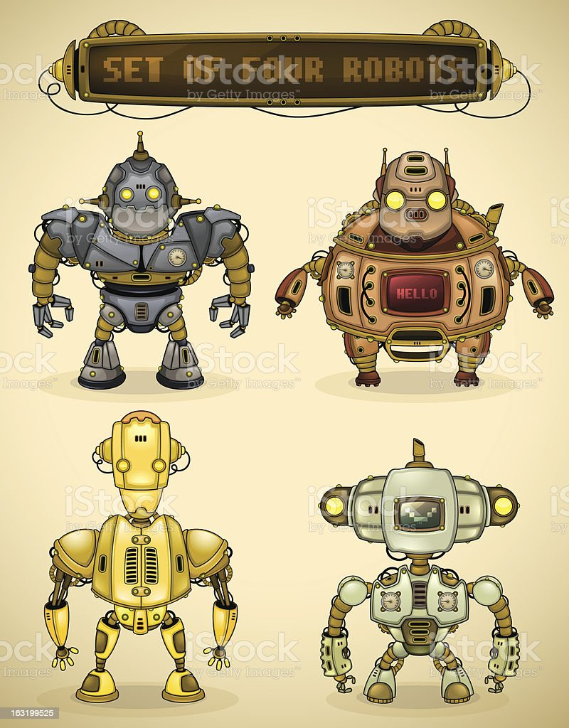Set of four vintage robots royalty-free stock vector art