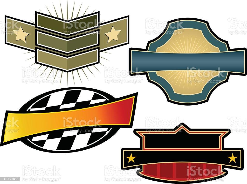Set of four vintage-style emblems and crest templates vector art illustration