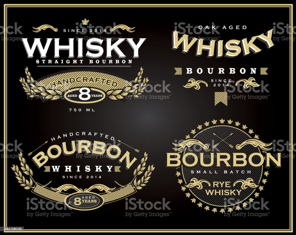 Set of four whisky and bourbon label designs vector art illustration