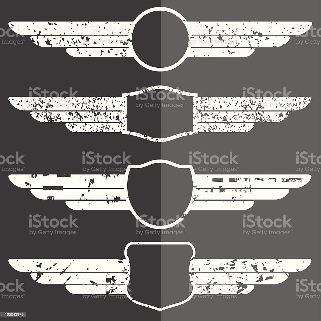 Set of four winged grunge emblems royalty-free stock vector art