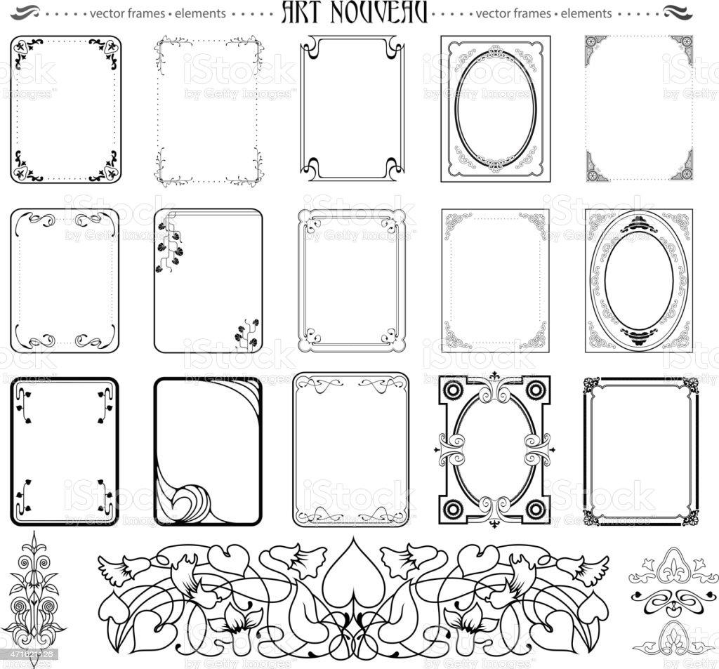 Set of frames and elements vector art illustration