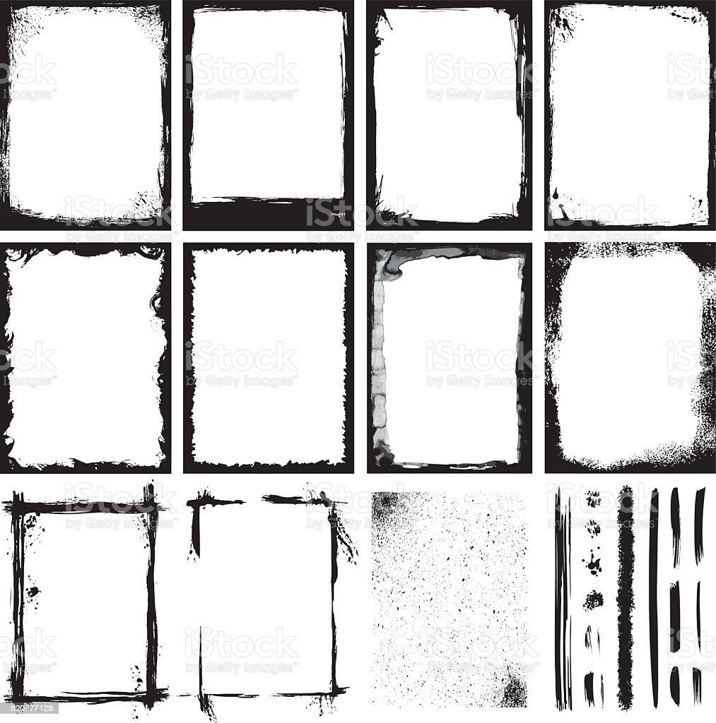 Set of Frames, Textures, Lines & Strokes. vector art illustration