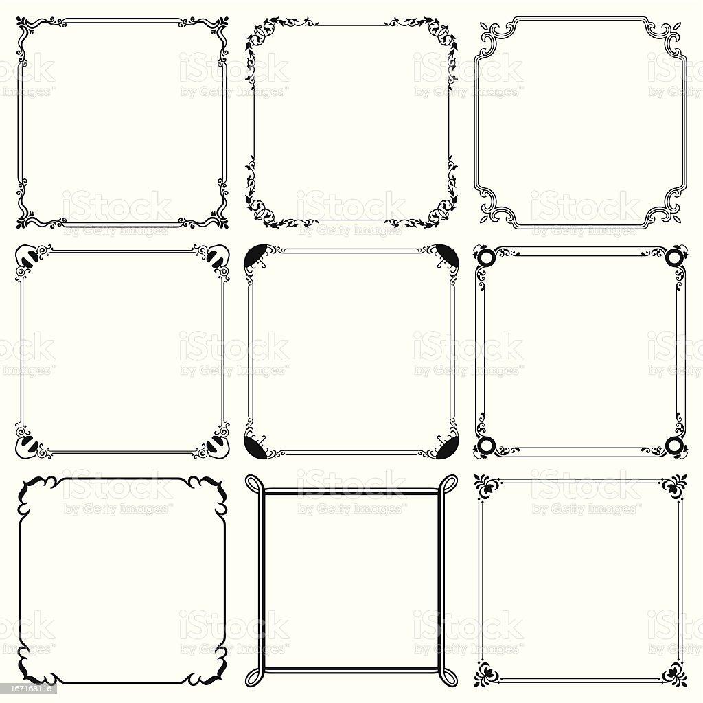 Set of frames vector art illustration
