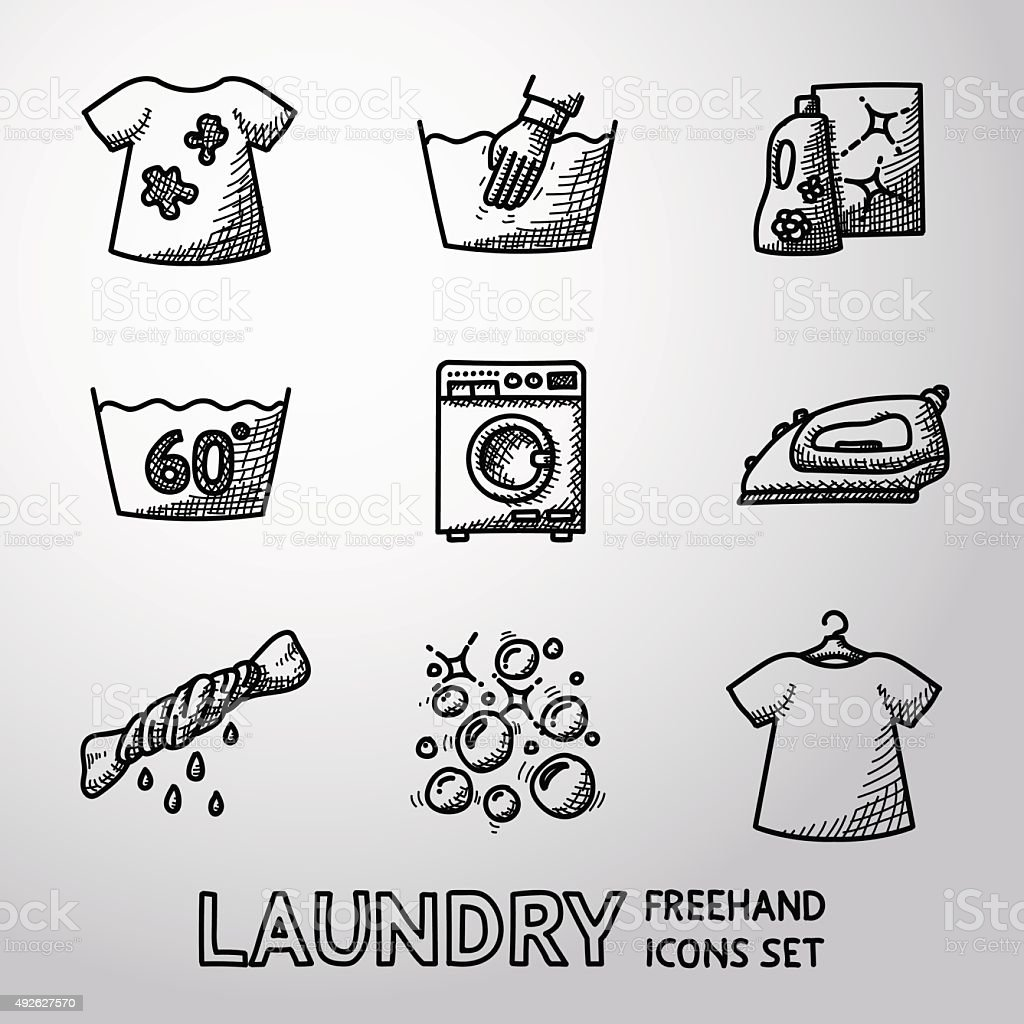 Set of freehand Laundry icons with - clean and dirty vector art illustration