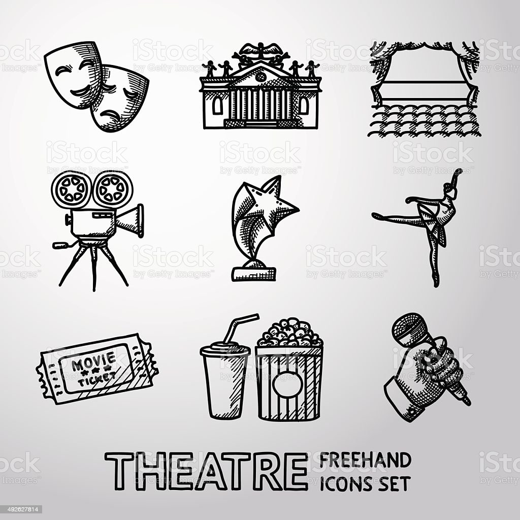 Set of freehand Theatre icons - masks, theater, stage, cinema vector art illustration