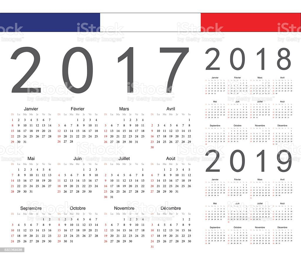 Set of french 2017, 2018, 2019 year vector calendars vector art illustration