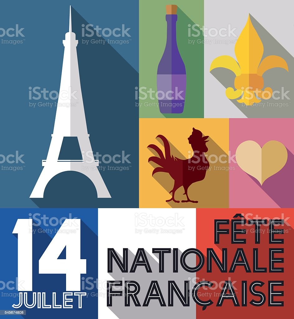 Set of French Elements with Long Shadow for Bastille Day vector art illustration