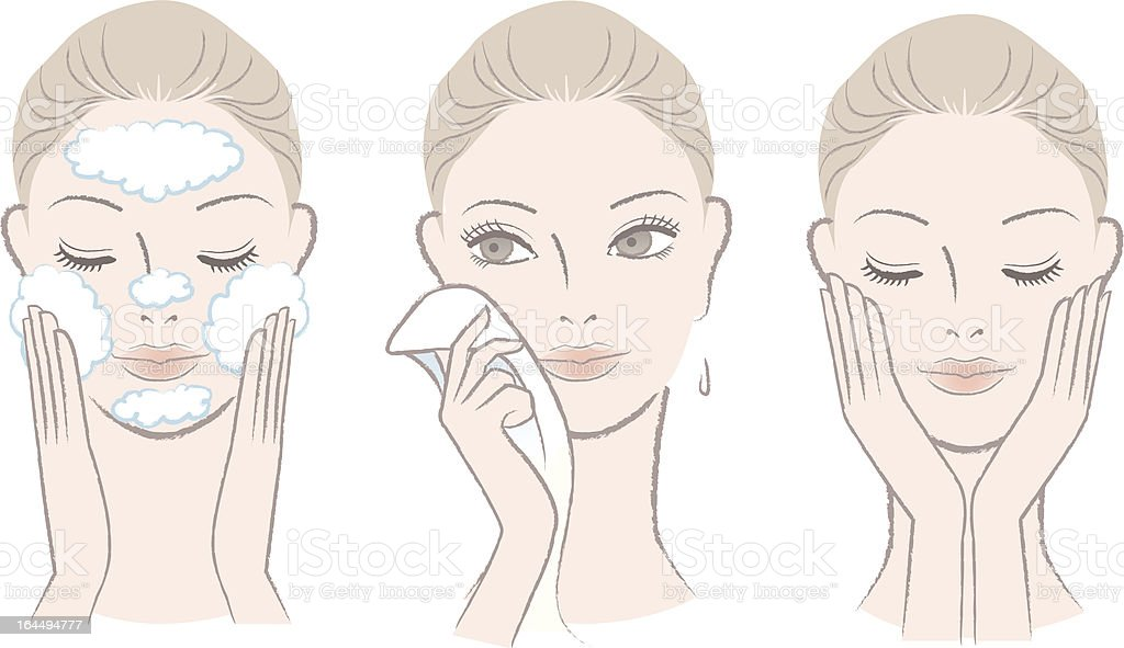 Set of fresh beautiful woman in process for washing face vector art illustration