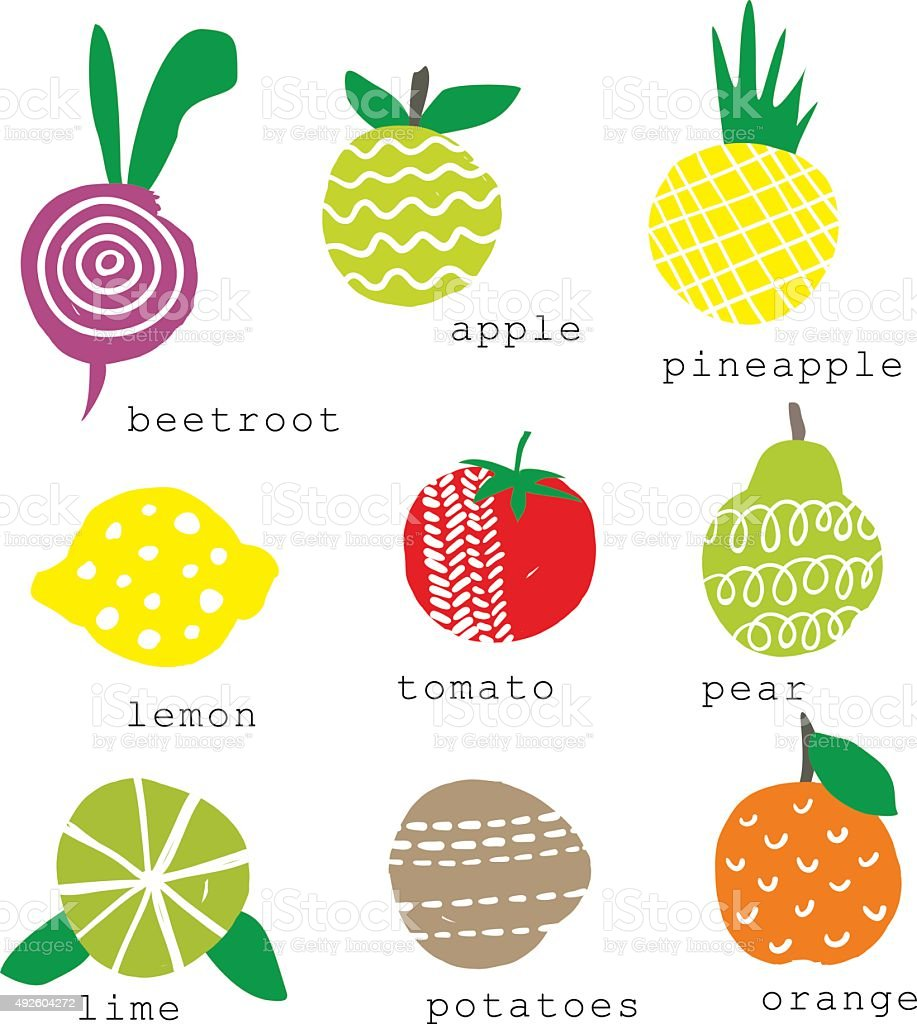 Set of fresh fruits and vegetables. vector art illustration