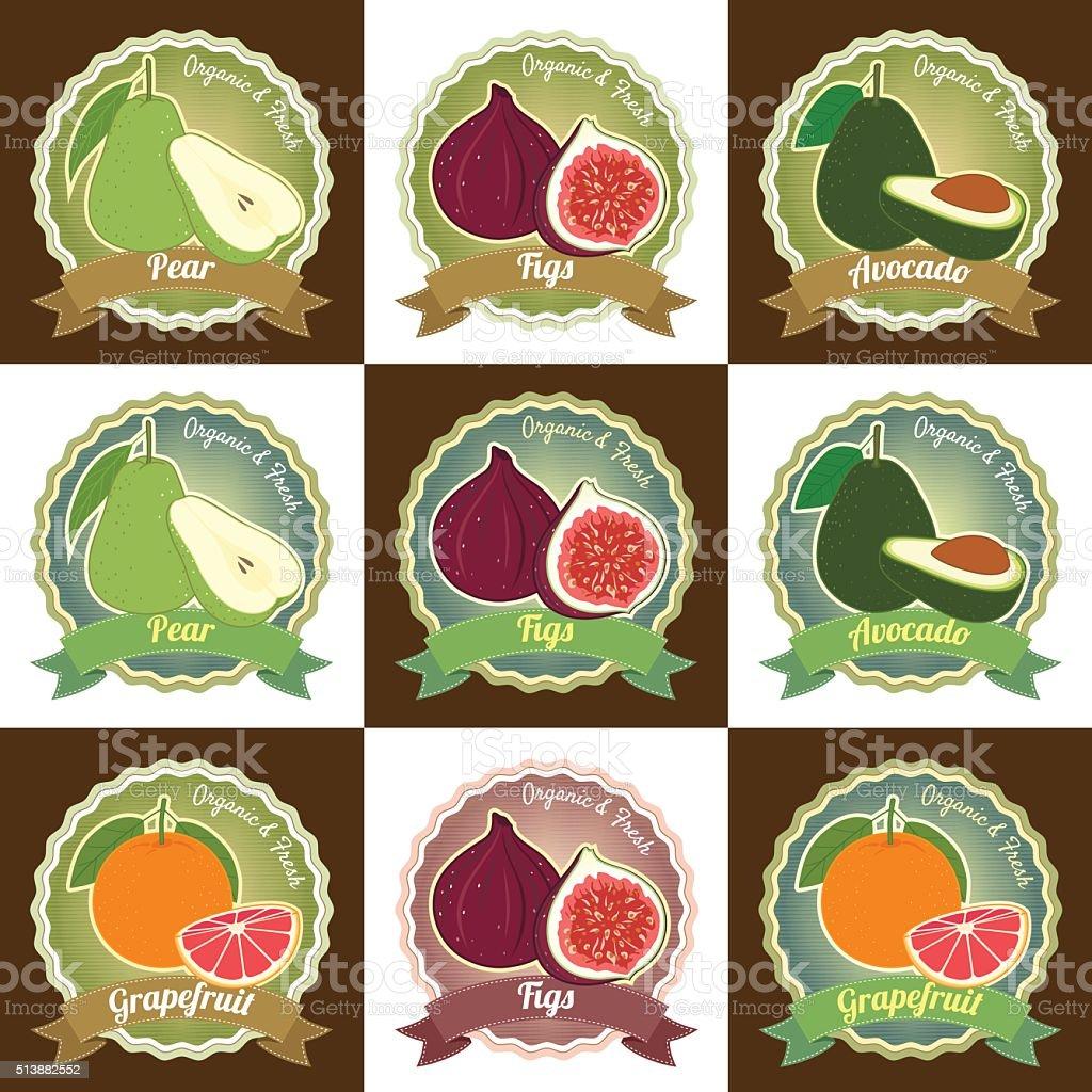 Set of fresh fruits premium quality tag label badge sticker vector art illustration