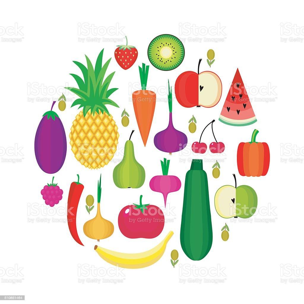 Set of fresh healthy fruits and vegetables vector art illustration