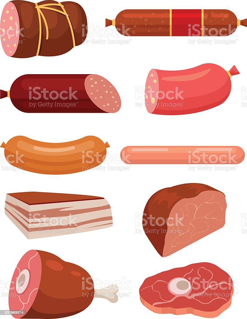 Set of fresh meat. Salami sausages vector art illustration