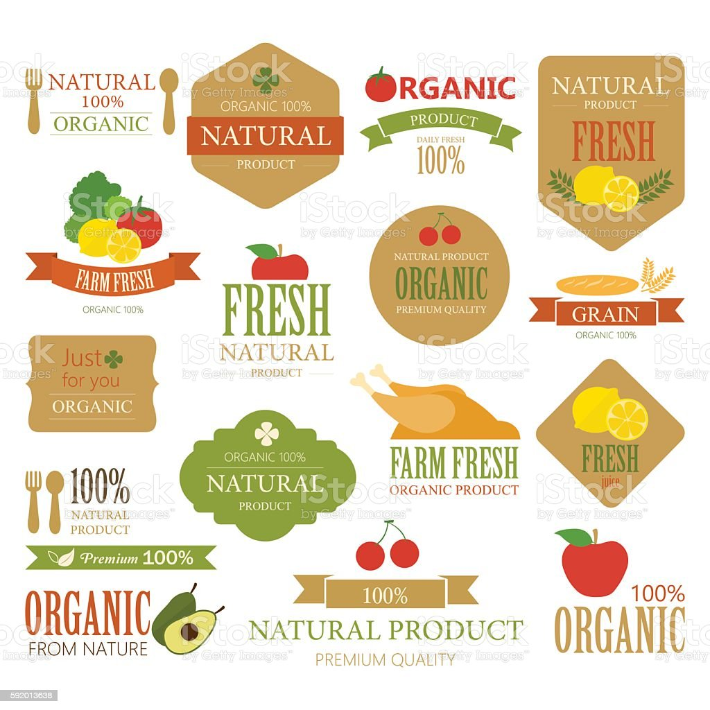 Set of Fresh Organic Label and Element. Nature label. vector art illustration