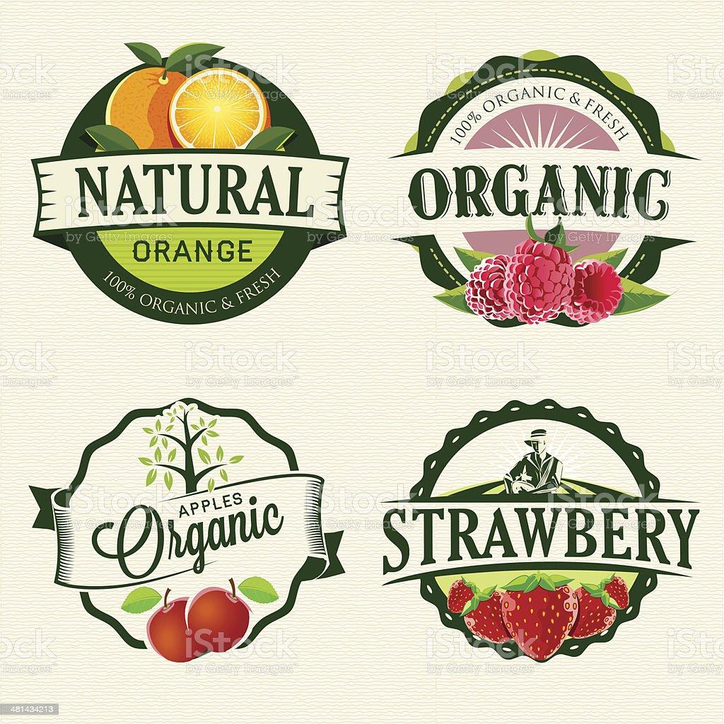 Set of Fresh & Organic labels vector art illustration
