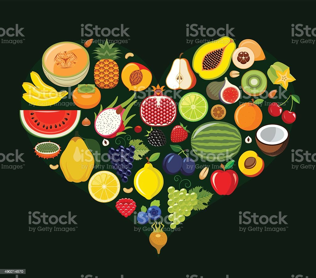 Set of fruit icons forming heart shape. vector art illustration