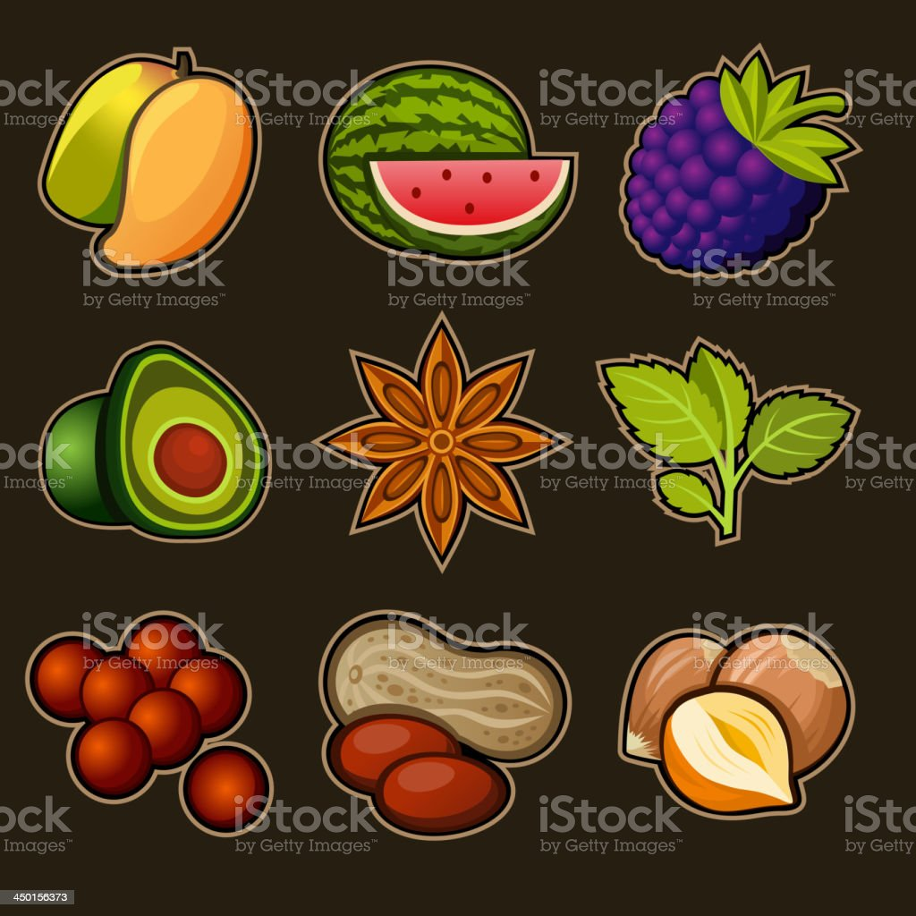 Set of fruit icons royalty-free stock vector art